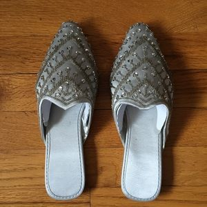 NWOT Silver Sequin Slippers